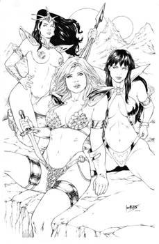 Dejah Thoris, Red Sonja, Vampirella by Leo Matos