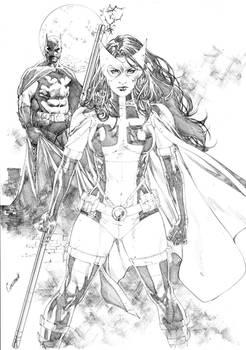 Huntress and batman by Gardenio lima