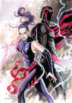 Psylocke and Magneto by Marc Holanda