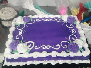 Purple and White Sheet Cake