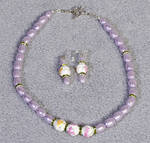 Purple necklace with flowers paint ceramic beads
