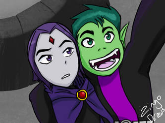 Beast Boy and Raven by ZingoDraws
