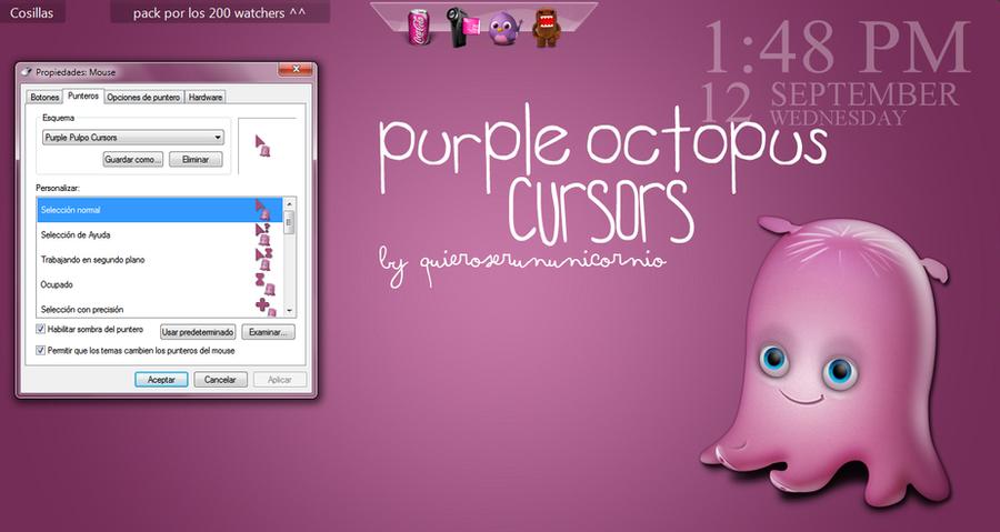 +Purple Octopus Cursors. by QuieroSerUnUnicornio