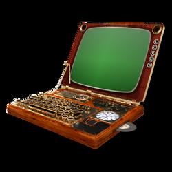 Steampunk Victorian Laptop Icon Mk3