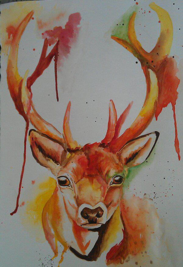 Stag Painting by STEPH-HUGHES