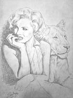 Marilyn Monroe with Lion by sfairbanks