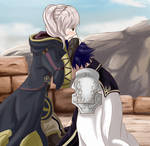 Comforting Chrom after Emmeryn's death