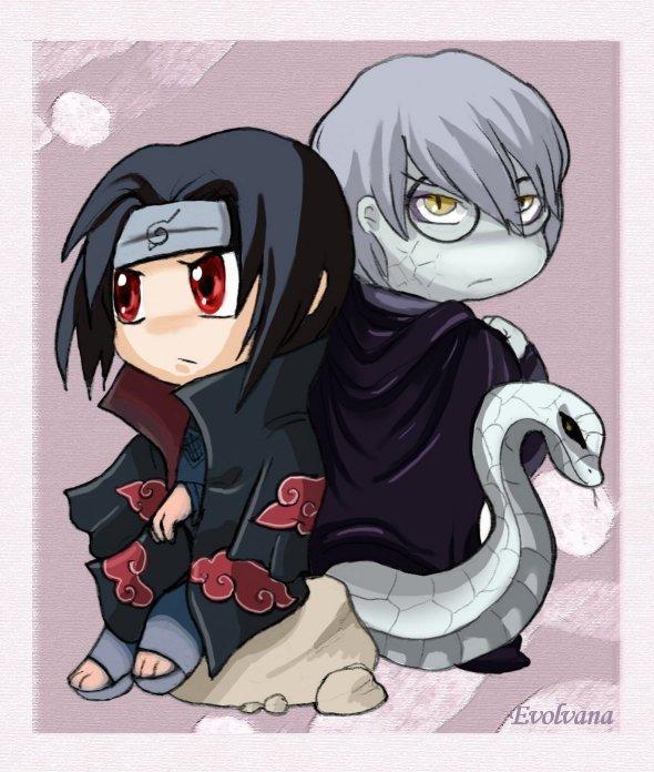 Itachi and Kabuto chibi by Evolvana