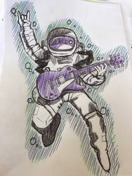 Spaceman with a guitar
