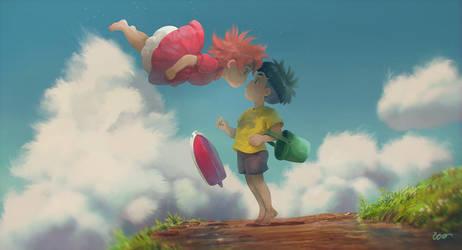 Ponyo and Sosuke by RodrigoICO