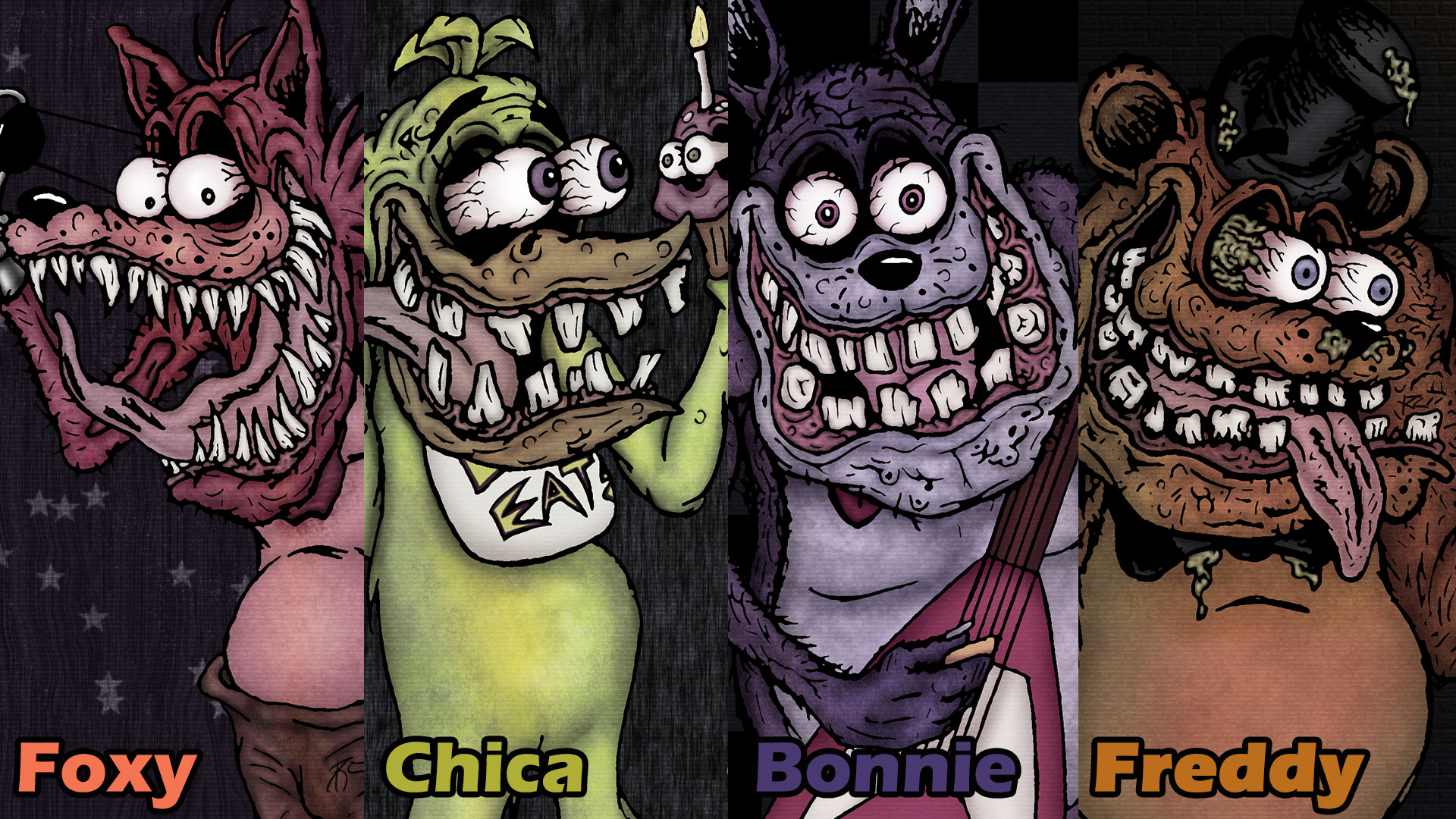 five nights at freddy - ed roth style (wallpaper)sestrennk on