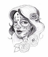 sugar skull lady by zioman