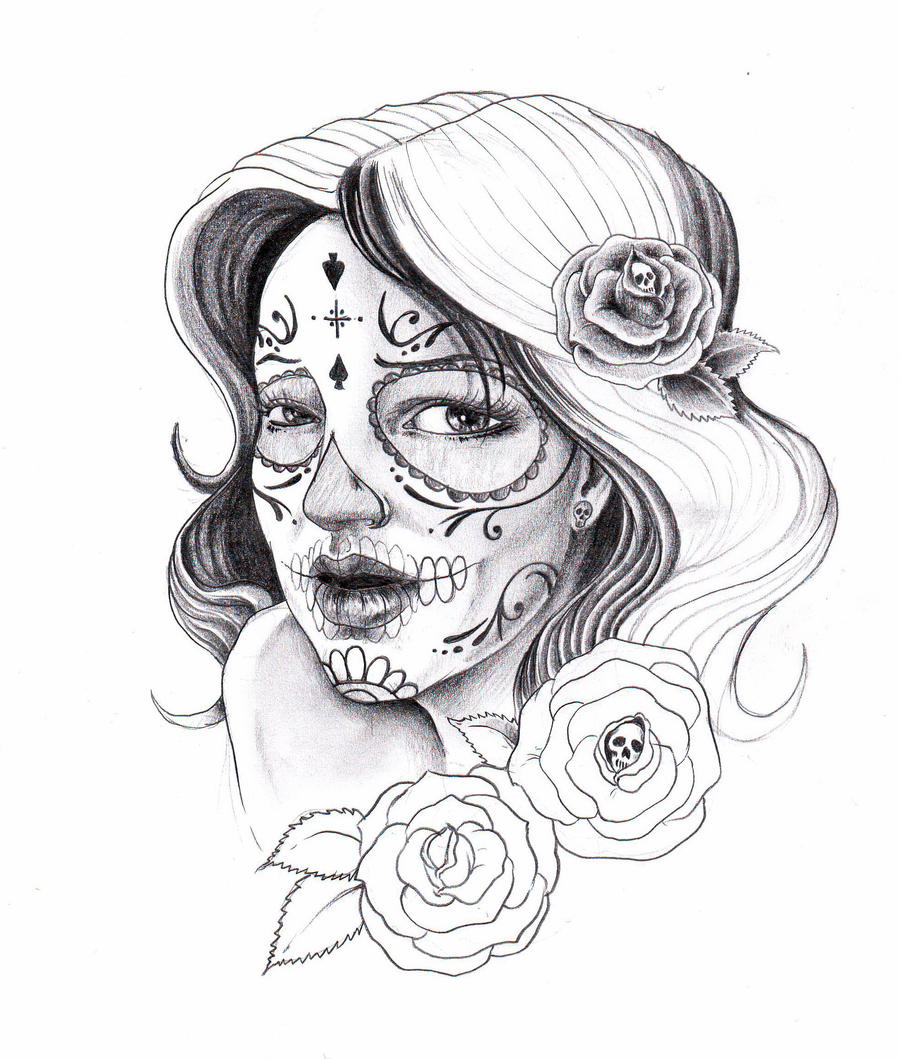 Sugar Skull Tattoo Design Drawing