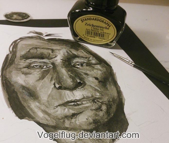 Wolf Robe - Ink drawing by Vogelflug