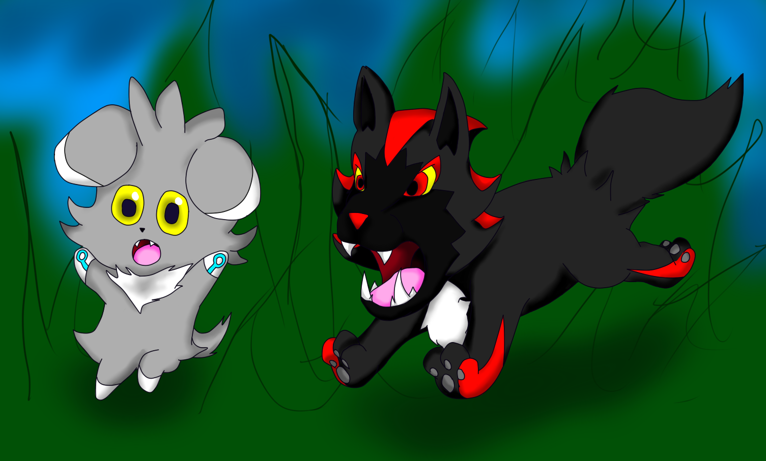 Silver the espurr and shadow the poochyena by - Evolution pokemon argent ...