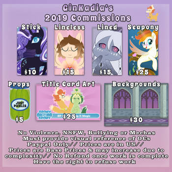 2019 Art Commissions *OPEN* by GinKadia