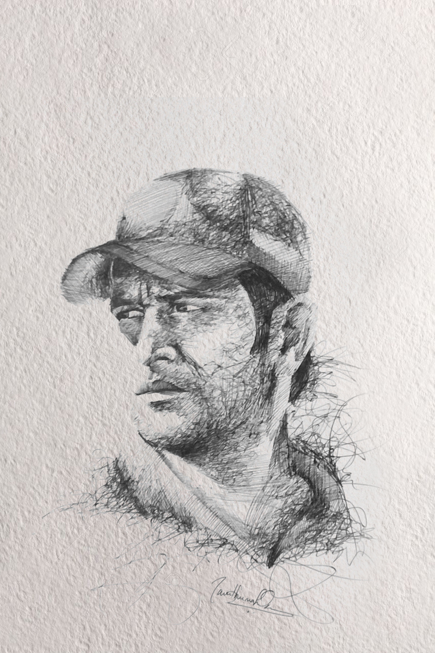 Portrait Of MS Dhoni. Pen On Paper. By SambhuMahendran On DeviantArt