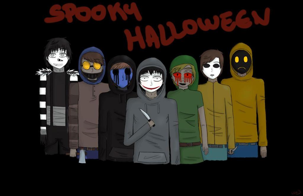 spooky halloween creepypasta casual wallpaper by niechwan