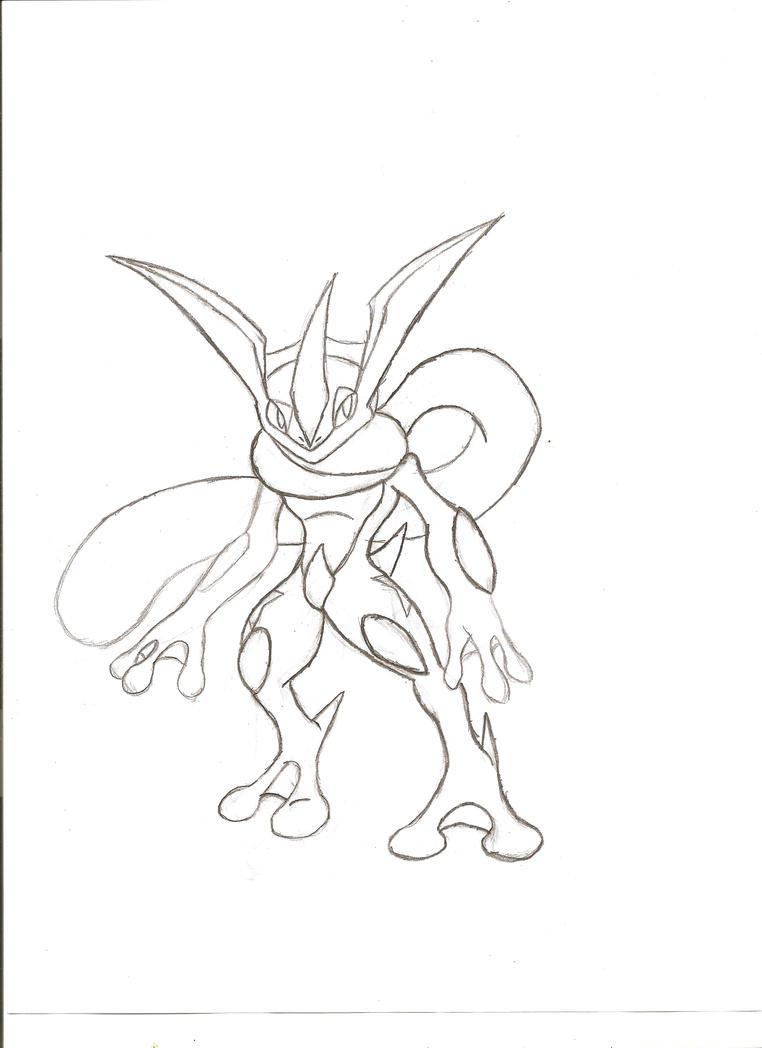 Greninja Pencil Sketch by NeonNeoz