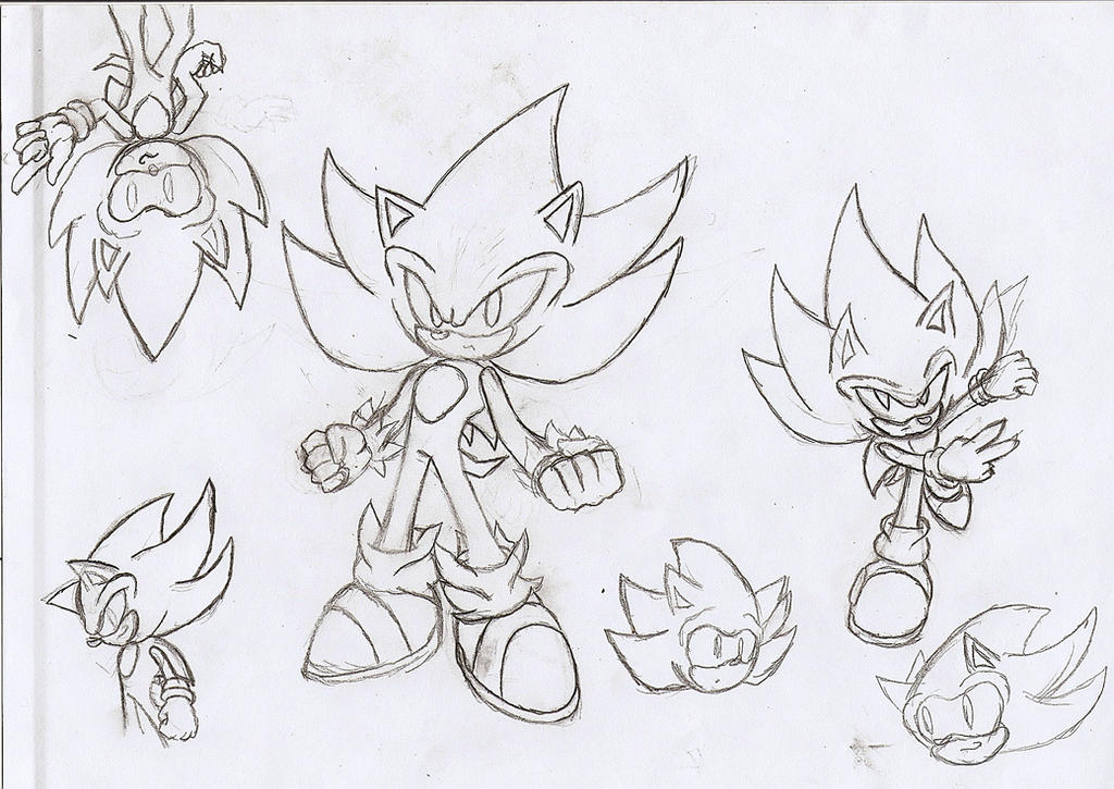 Super Sonic Pencil Sketch by NeonNeoz