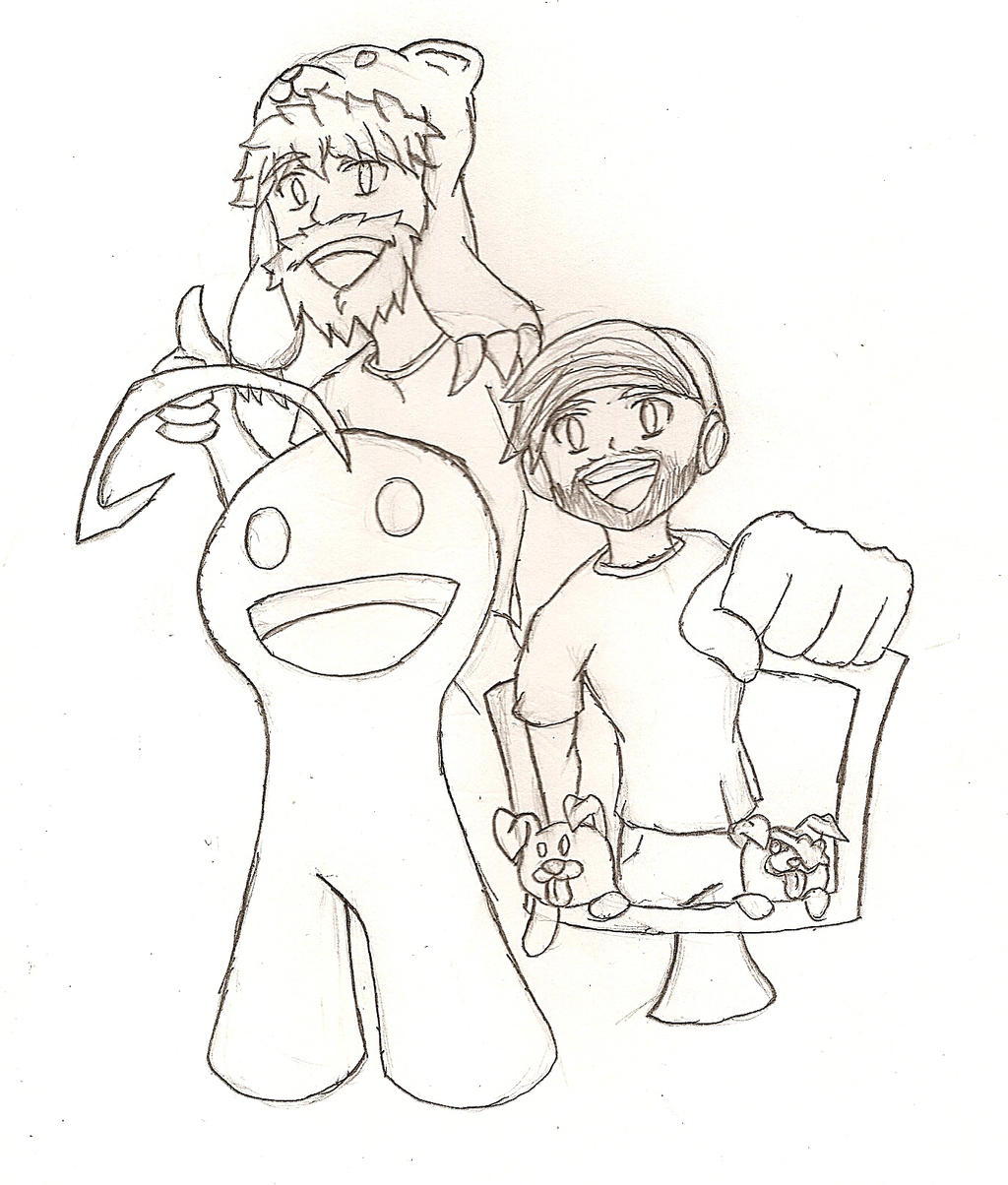Pewds, Cry, CTK, Edgar, and Maya(Pugachan) Sketch by NeonNeoz