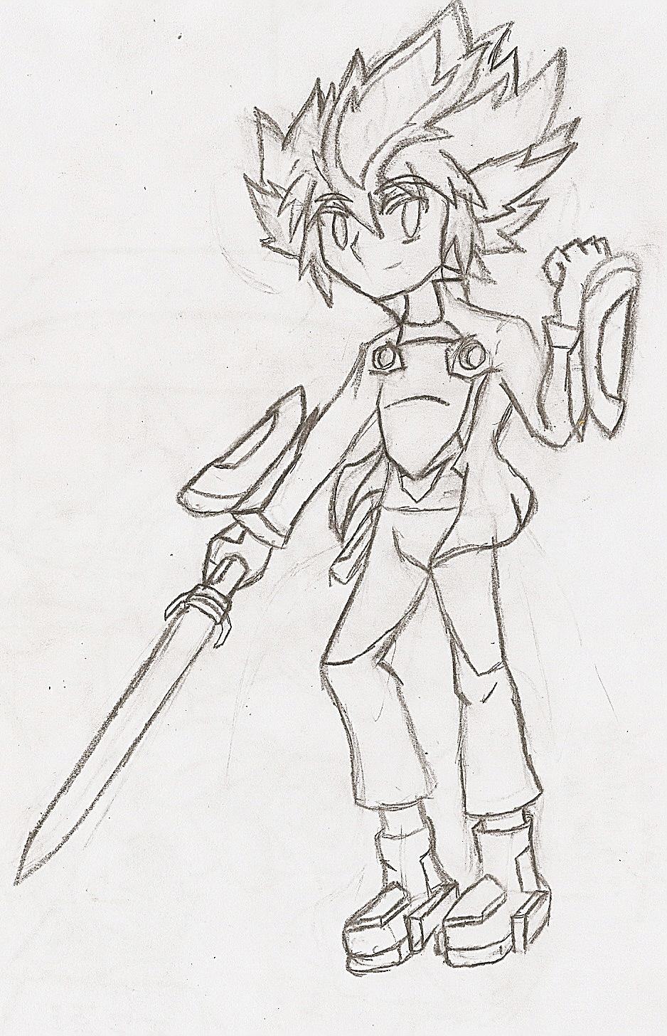 Medabot Ryu: Human (Sketch) by NeonNeoz