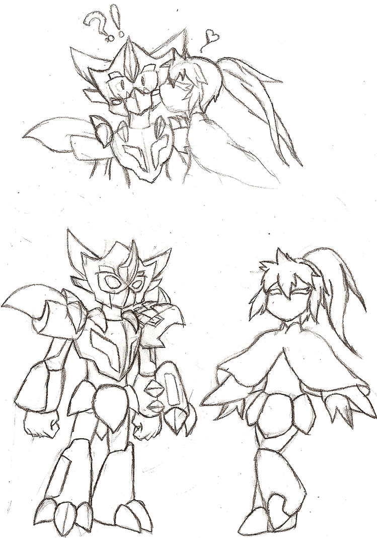 Medabot Ty and Aina by NeonNeoz