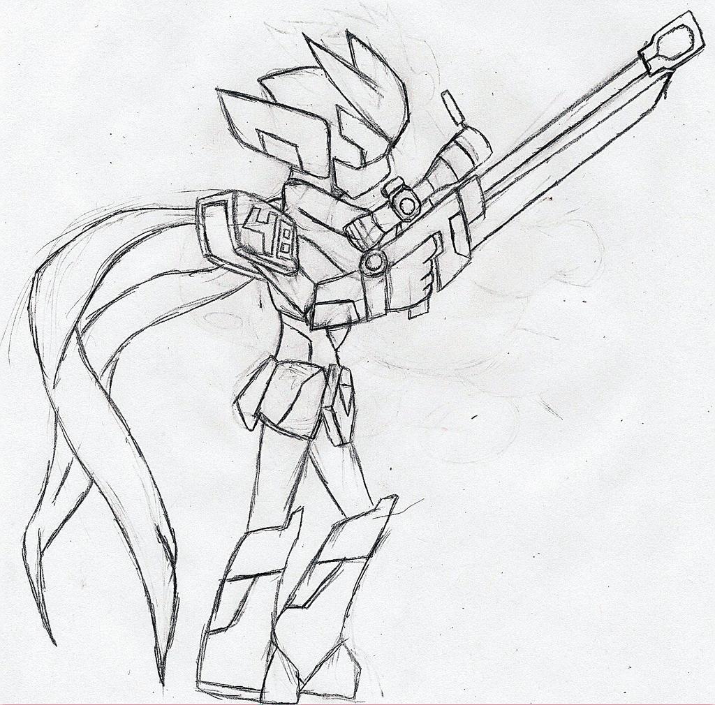 Medabot Ice Sketch by NeonNeoz