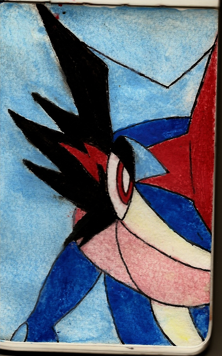 Ash-Greninja (Water Color Pencil Test) by NeonNeoz