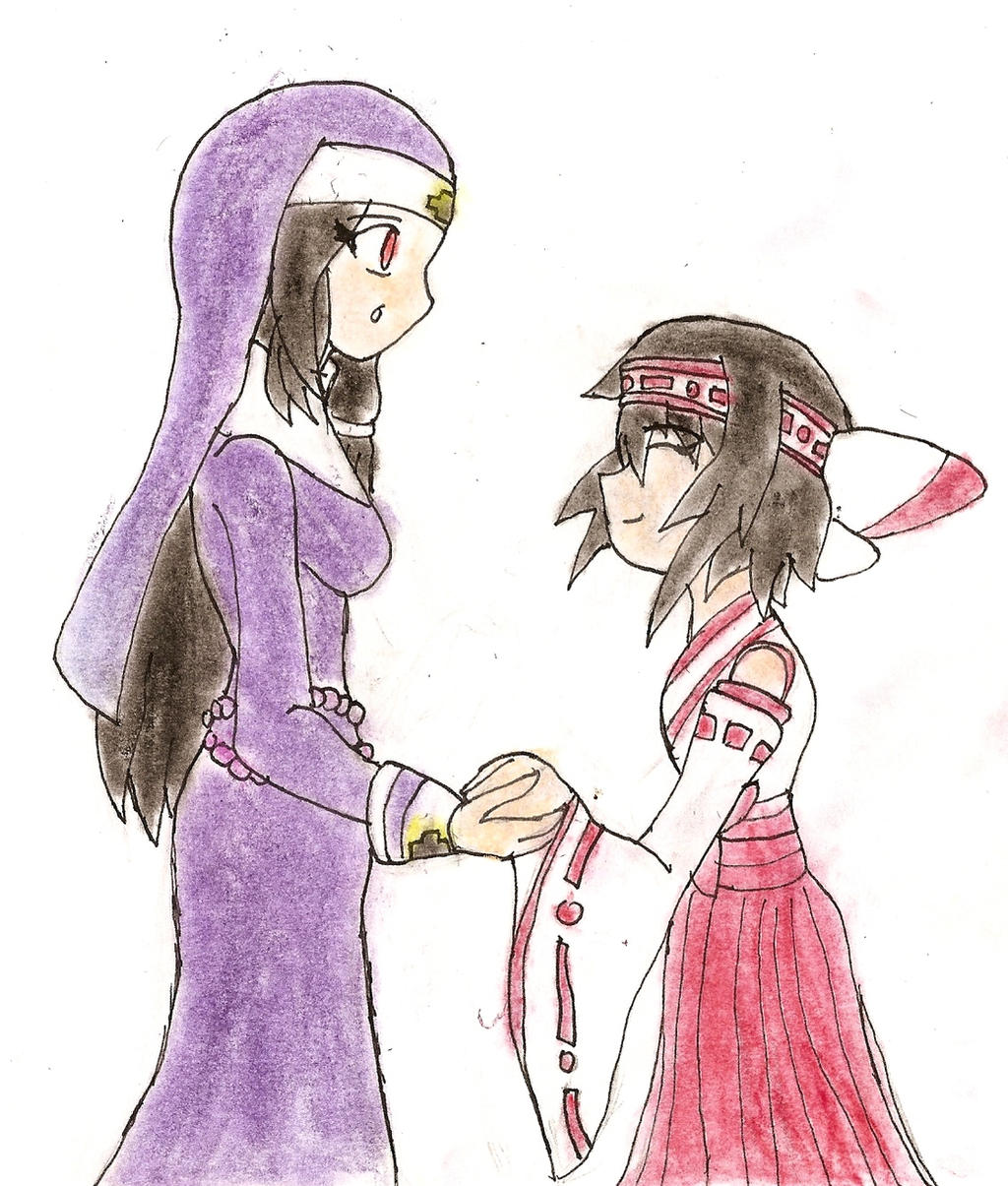 Rqst-3: The Nun and the Miko by NeonNeoz