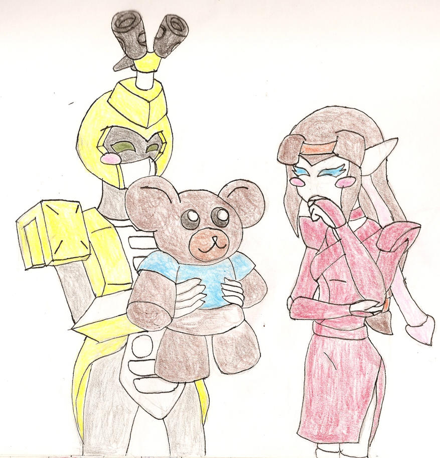 Late V-Day Rqst1: Bee and Eva - Teddy care by NeonNeoz