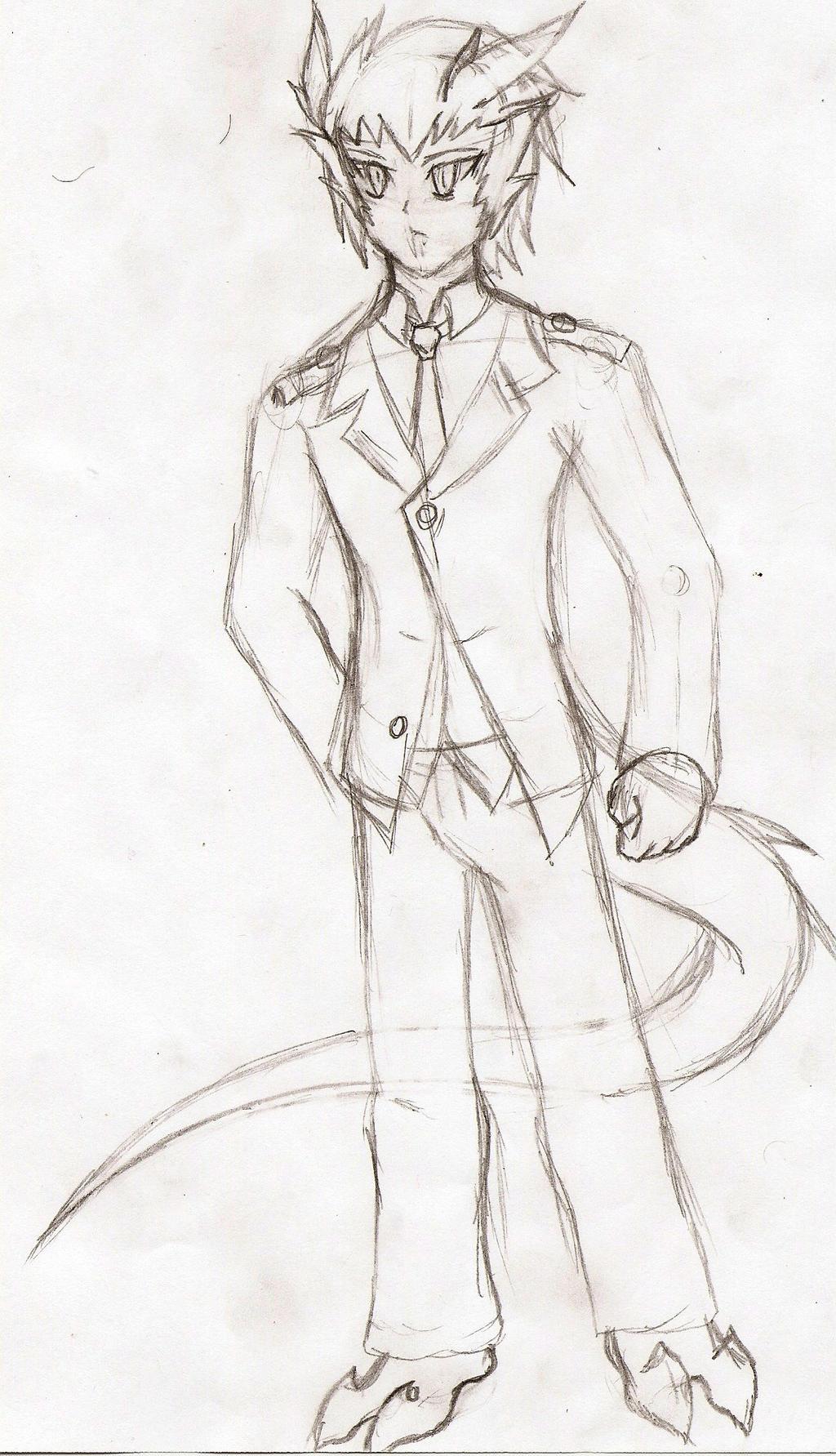 Hero Academia Oc: Tatsuya Ryuu (sketch) by NeonNeoz