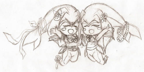 Two cute Chibi Zoras (Sketch)