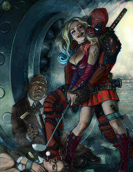 Harley and Deadpool crazy love 200dpi
