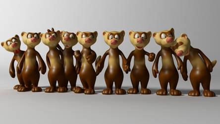 Cartoon ferrets 3D Model by 3DSud
