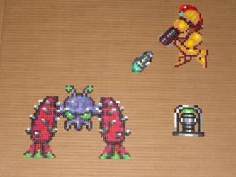 Super Metroid Bead-Sprites 01 by zaghrenaut