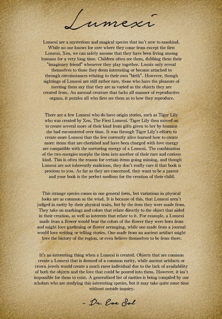 Updated Lumexi Information by EeveeDream
