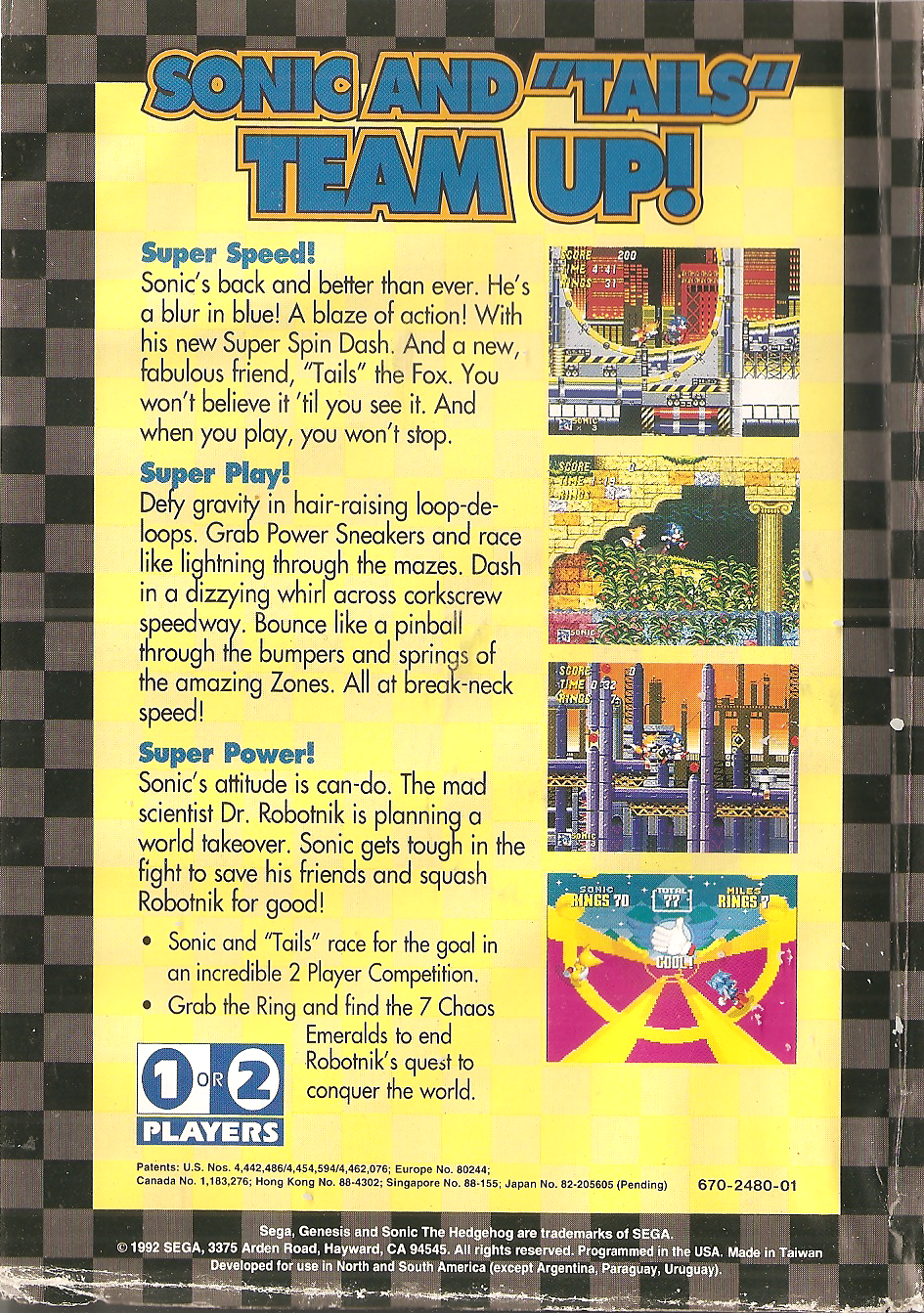Sonic The Hedgehog 2 Sega Genesis Back Cover By Polystarsarchives On Deviantart