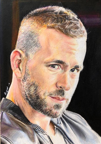 Drawing Ryan Reynolds  by MYwhiteCANVAS