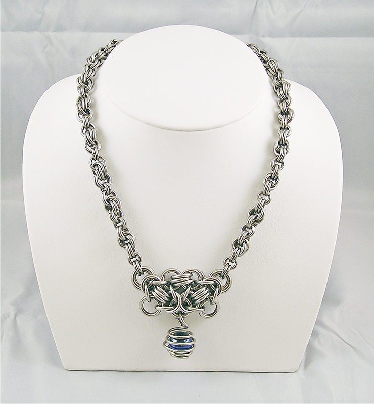 Blue Stainless Steel Necklace by chainedoombaby