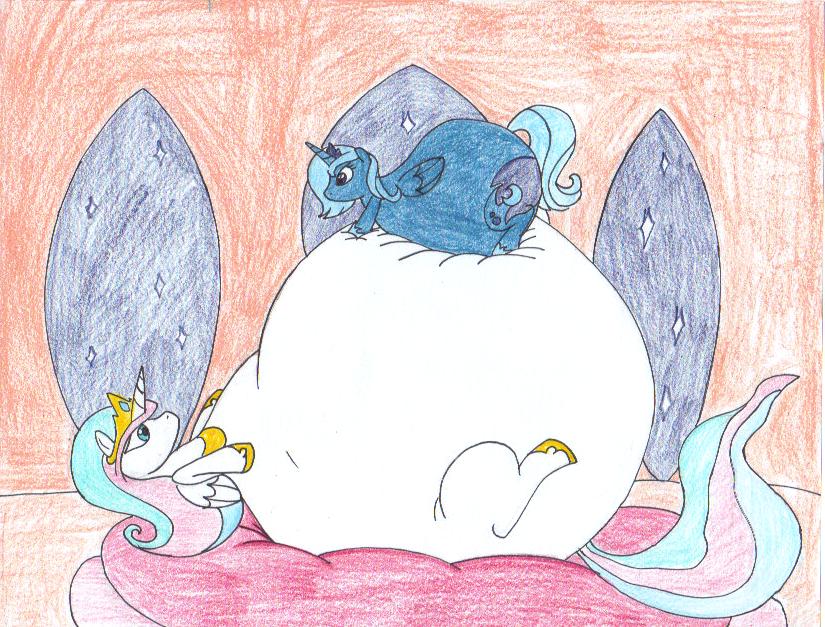 Fat Celestia and Luna by dragovian15