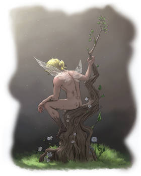 Fairy resting in a tree