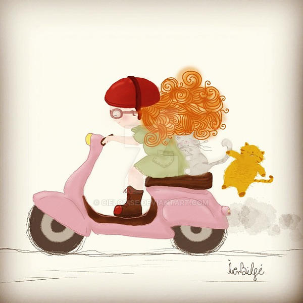 vespa, girl and cats by Cielodise