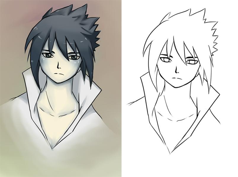 Sasuke Lineart : Sasuke lineart and colored by canary on deviantart