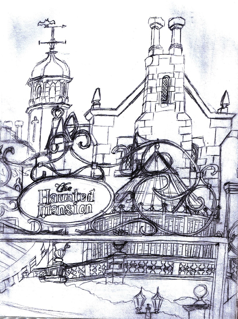 Inside House Drawing: Haunted Mansion Sketch By Neosun7 On DeviantArt