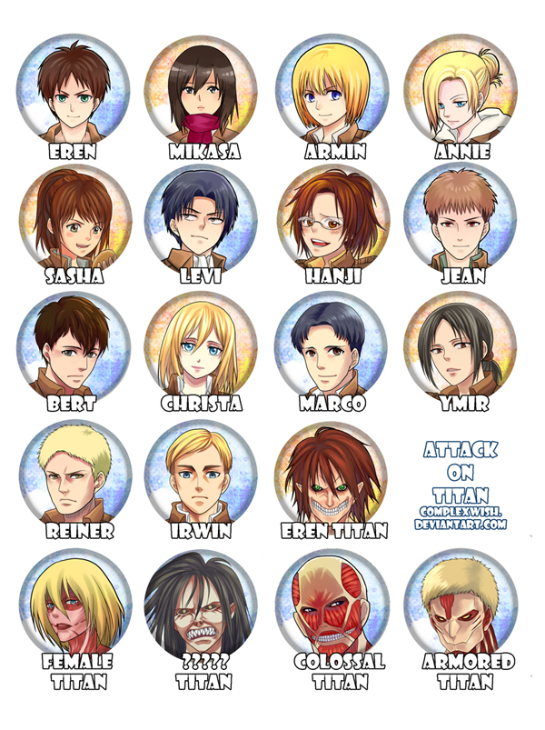 attack on titan buttons by ComplexWish