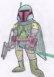 Boba Fett and a lightsabre by JohannesAggro