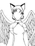 short hair angel -black-white-