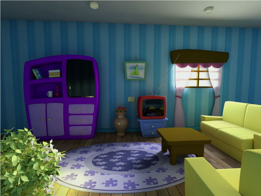 Cartoon Scene Living Room by DiogoEspindola on DeviantArt