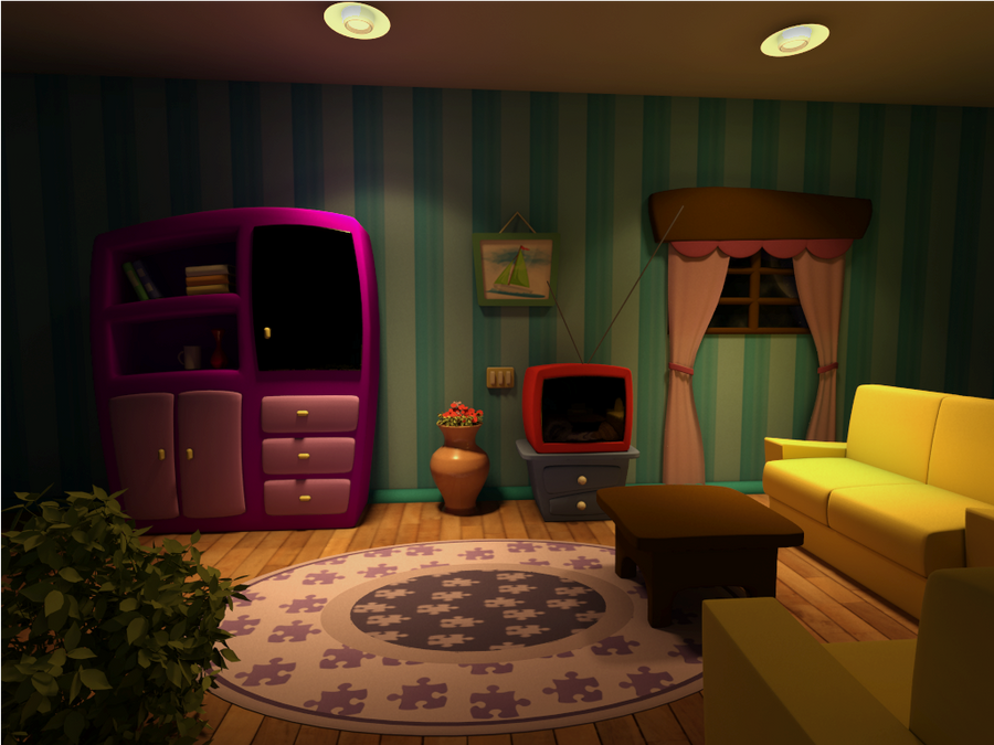 Cartoon Scene Living Room Night Version By Diogoespindola On Deviantart